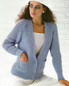 Ladies V-neck Cardigan Knitting Pattern with Pockets DK 32 ...