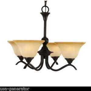 Image Is Loading Chandelier 4 Light Oil Rubbed Bronze Finish Amber