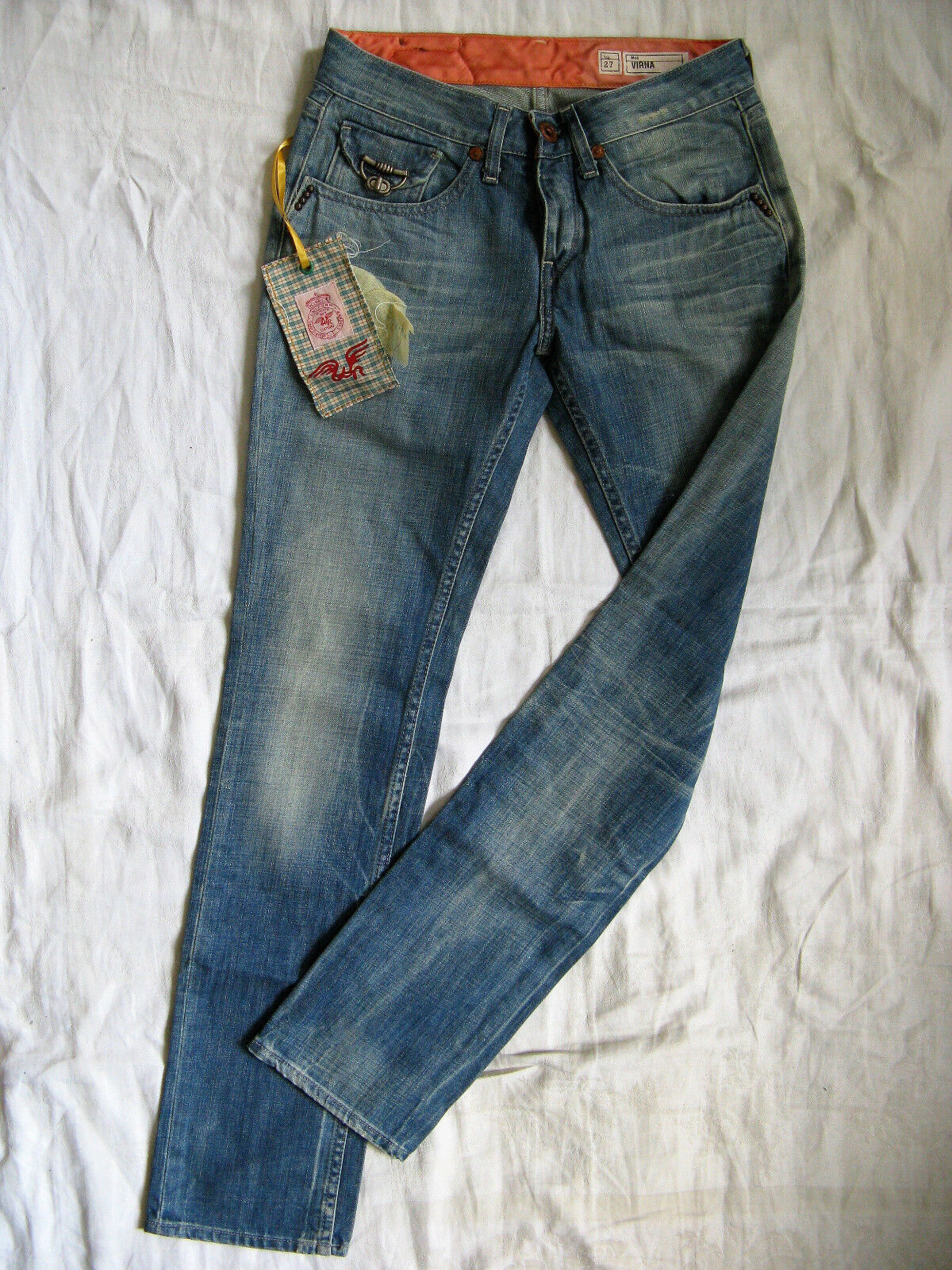 We Are Replay Damen Blau Jeans Denim W27 L32 low waist slim fit straight leg