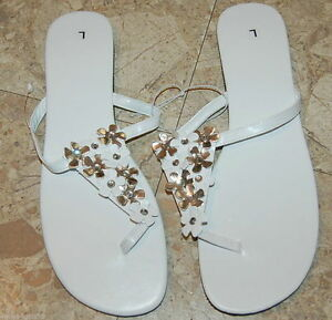 3f12ed044b5e5f WHITE Silver Rhinestone FLOWER THONG FLIP FLOP SANDALS Medium Womens ...