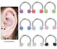 Tragus Cartilage Horseshoe Earring With Cz Jeweled Beads N80300-horse