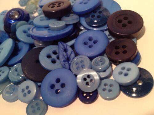 50g ASSORTED BLUES BULK BUTTON MIX CRAFT SCRAPBOOKS SEWING /& CARDS