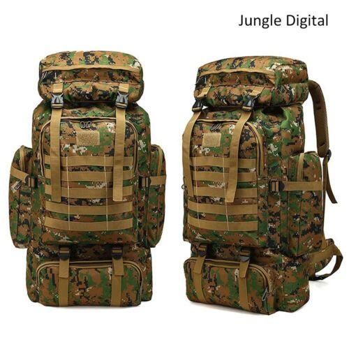 80L Outdoor Camping Bag Military Backpack Tactical Hiking Trekking Rucksack~