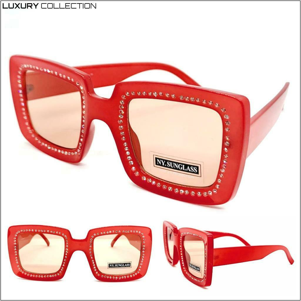 EXAGGERATED Classy Luxury Retro SUNGLASSES Square Red Frame Sparkling Crystals