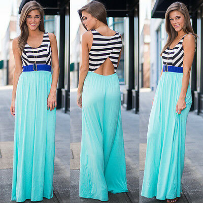 Sexy Women Summer Boho Sleveless Long Maxi Evening Party Dress Beach Dress S-XL