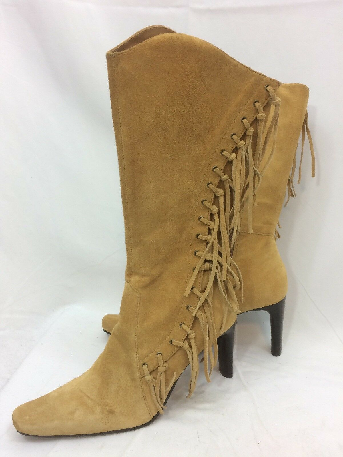 NEW MIxIT Wheat Suede Leather Fringed Side Sip Heeled Boots Sz.7M