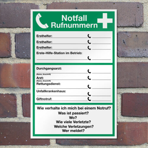 """WANDKINGS Sicherheitsschild /""""Notfall Rufnummern/"""" Sicherheit Privat Draußen"""