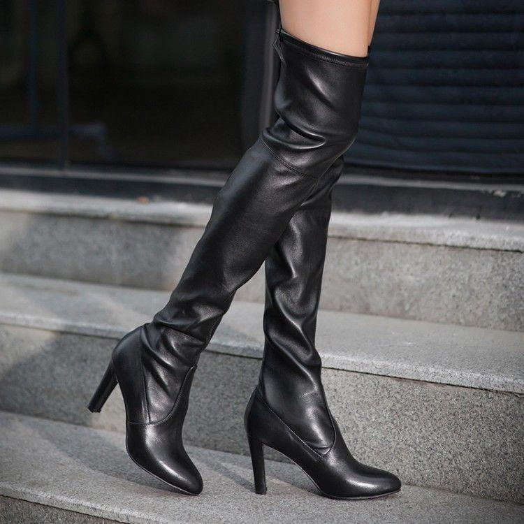 CHIC WOMEN LEATHER BLACK OVER THE KNEE THIGH HIGH STILETTO HEEL BOOTS ALL SIZE