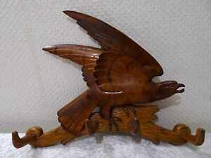 Madera-Figura-Aguila-Armario-Liston-de-Ganchos-Handgefertigt-Tallado-Vintage