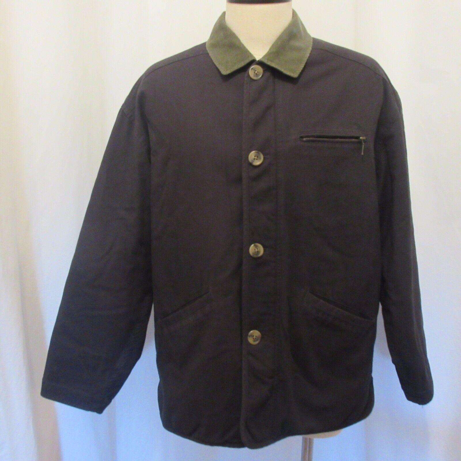 J Crew Coat Sz L Barn Work bluee Zip Up Green Corduroy Collar Striped Lining