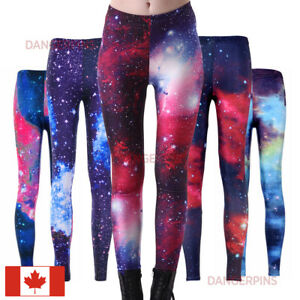 567a89e11bdb2 Image is loading Galaxy-print-classic-leggings-S-XXXL-stretchy-Blue-