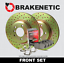 FRONT BRAKENETIC SPORT DRILLED Brake Rotors POSI QUIET CERAMIC Pads BSK80025