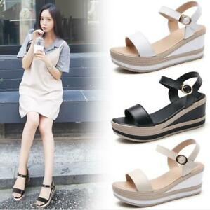 Womens-Ankle-Strap-Wedge-Sandals-High-Platform-Heel-Buckle-Open-Toe-Party-Shoes
