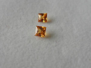 37 Lovely Natural Gem Stones Pair of Orange Sapphires Square cut - Cumbria, United Kingdom - 37 Lovely Natural Gem Stones Pair of Orange Sapphires Square cut - Cumbria, United Kingdom