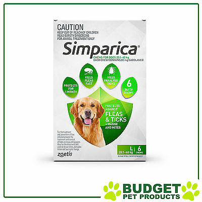 Simparica For Dogs 20.1- 40kg Green Large 6 Chews