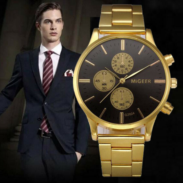 Mens Crystal Stainless Steel Quartz Analog Wrist Watch Date Sport Watch Gold