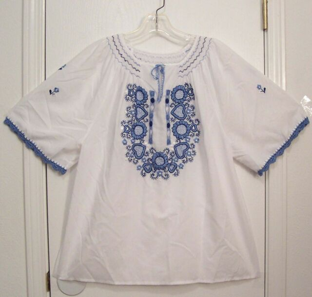 Vintage EMBROIDERED Mexican style HUNGARIAN Hippie Peasant FESTIVAL Top blouse L