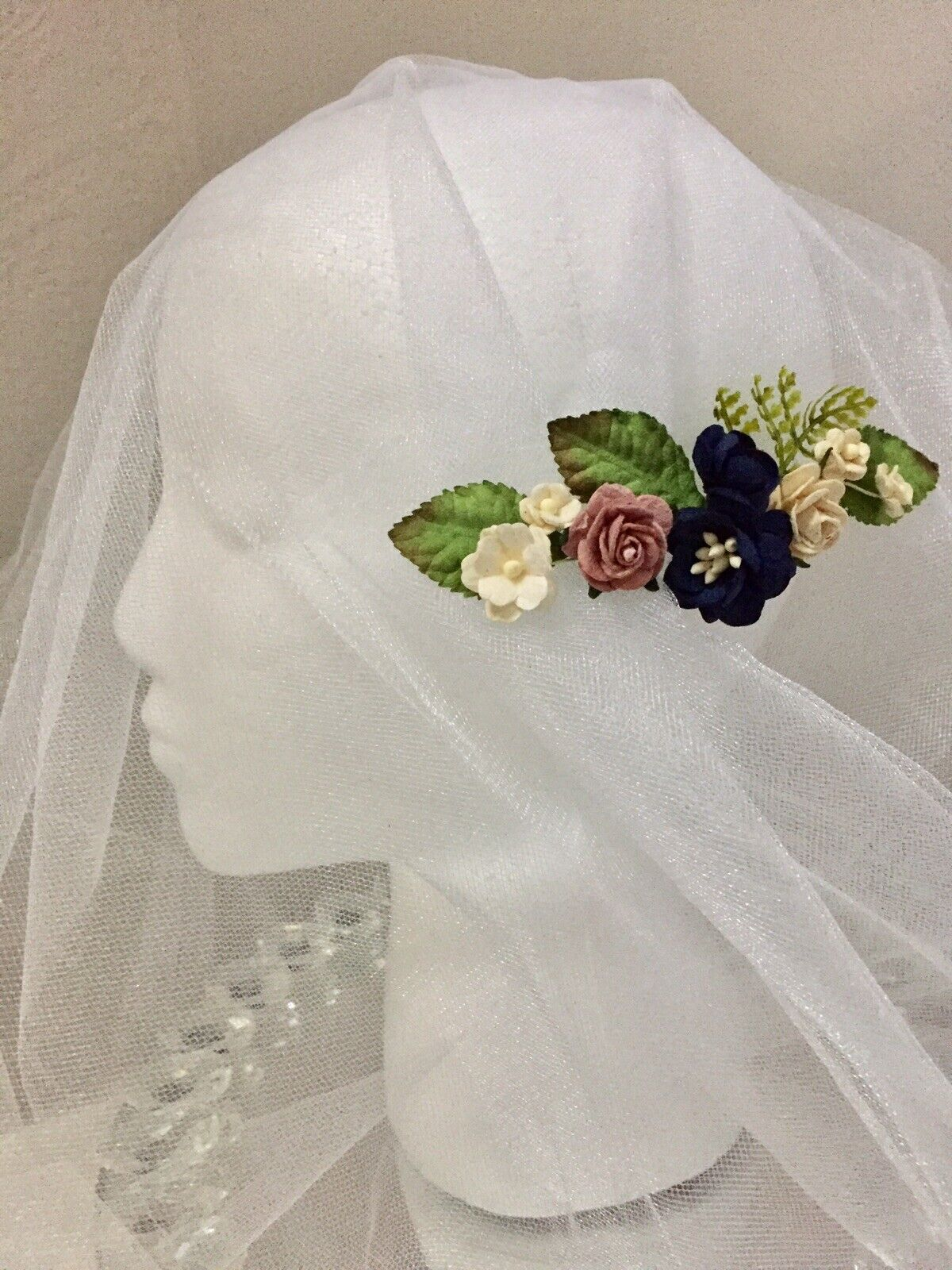 Whimsical Wedding Bridesmaid Navy Blue Dusty Paper Flower Hair Comb Clip Bridal