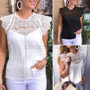 VONDA-Women-Lace-Crochet-Cap-Sleeve-Tops-T-shirt-Hollow-Out-Loose-Shirt-Tee-Plus