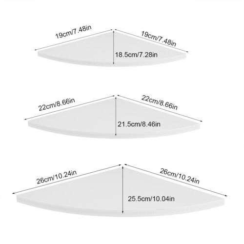 3Pcs Corner Shelf Floating Wall Shelves Mounted Storage Rack Display Home Decor