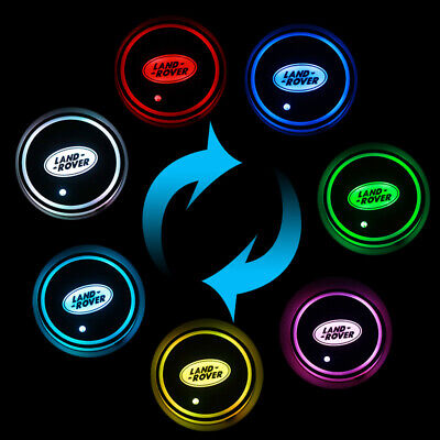 2PCS for Land Rover  LED Car Cup Holder Pad Mat Auto Interior Atmosphere Lights