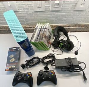 Xbox-360e-500gb-Call-Of-Duty-Console-Bundle-6-Games-2-Controllers-amp-Headset-BLUE