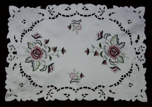Embroidered Burgundy Rose Embroidery Cutwork Placemat Table Mat Runner Polyester