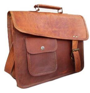 Image Is Loading Bag Leather Vintage School Messenger Shoulder Men Satchel