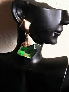 Gold  and green Drop earrings