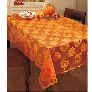 Fabric Halloween Tablecloth Decor Sheer Lace Jack O Lanterns Pumpkins 52x70