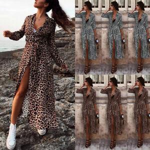 5c0c254786 Elegant Leopard Maxi Dress Women Long Sleeve Beach Dress V Neck Sexy ...