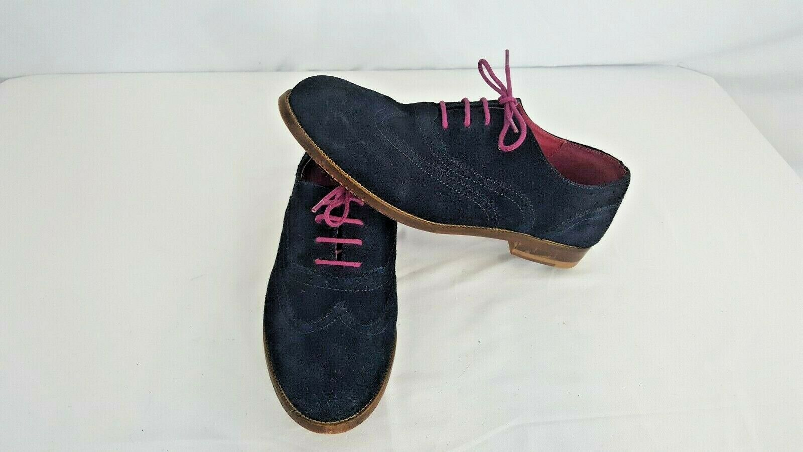 Boden Women's bluee Pink Suede Oxford Wingtip Brogue Lace Up shoes SZ 42 11.5US