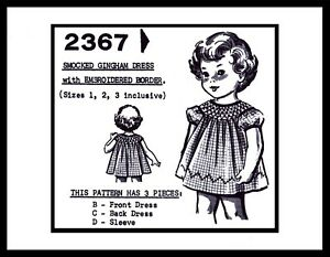 Pattern SMOCKED Gingham DRESS FROCK BABY Toddler 1-2-3 GRIT Mail Order # 2367