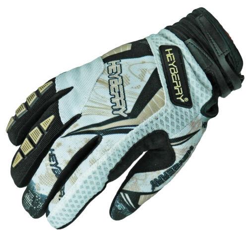 S M L XL XXL Heyberry Motocross MX Handschuhe schwarz weiß gold Größe