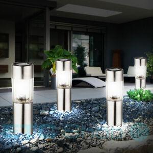 4er Set LED SOLAR Design Außen Steck Lampen Edelstahl Park Erdspitz Leuchten