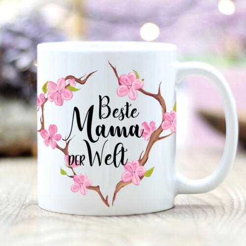 Kaffee Tasse bedruckt Muttertag Mama ist die Beste Blumen Geschenk T391 Tasse