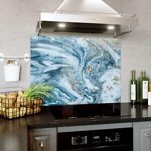 Dettagli su Vetro Splashback cucina & BAGNO Pannello di qualsiasi  dimensione composizione MARMO BLU ORO 0364- mostra il titolo originale