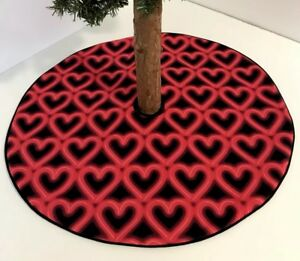 Valentine S Day Tree Skirt 20 5 Neon Glowing Red Hearts Custom
