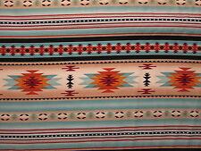 Navajo Indian Light Teal Gold Border Print Cotton Fabric BTHY
