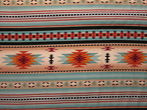 Navajo-Indian-Light-Teal-Gold-Border-Print-Cotton-Fabric-FQ