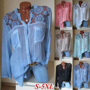 Women-Blouse-Long-Sleeve-Shirt-Casual-Lace-Loose-Casual-Tops-Plus-Size-S-5XL-HOT