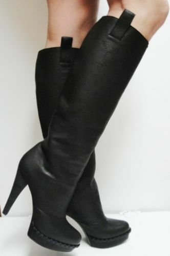 YSL Yves Saint Laurent Coleen Black Leather Knee High Platform Boots 40 NIB