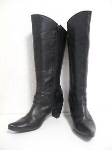 Bottes-SPIRAL-Taille-40-en-cuir-noir-a-talon-bout-pointu-pointure-femme