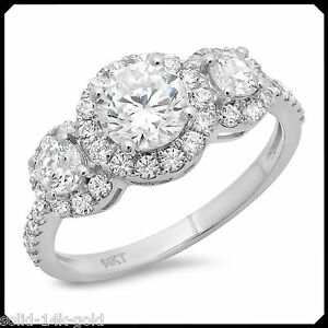 1-80CT-Three-Stone-Cut-Diamond-Solid-14K-White-GOLD-Engagement-Wedding-Halo-Ring