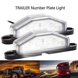 2x-4-LED-Arriere-Tail-Licence-Plaque-la-Lampe-Lumiere-Remorque-Camion-Bright-PB