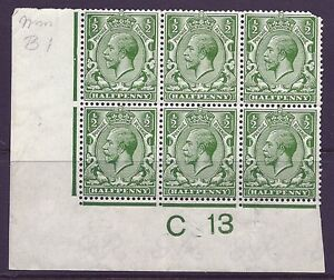 N14(7) ½d Deep Bright Green Control C 13 imperf MOUNTED MINT