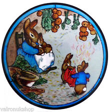 STAINED GLASS WINDOW ART STATIC CLING BEATRIX POTTER - PETER RABBIT AT HOME
