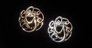 NWT WOMEN&#039;S SILVER OR GOLD LETTER &#039;G&#039; MONOGRAM FASHION SCARF RING/CLIP/SLID<wbr/>ER
