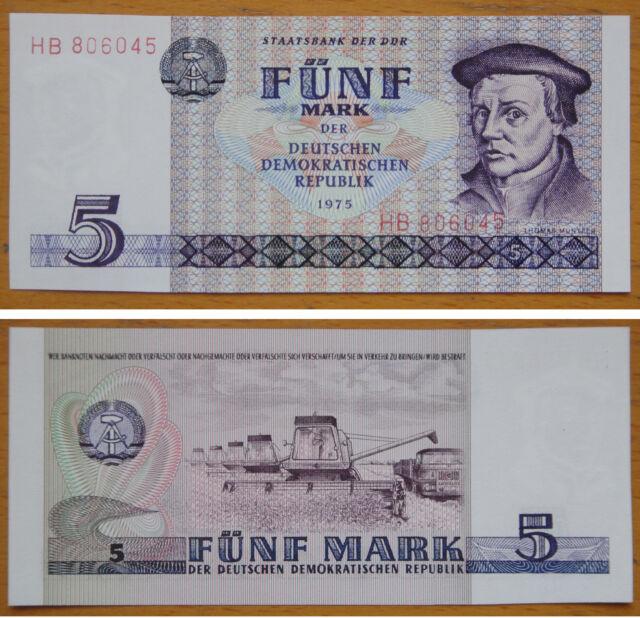 German Democratic Republic Banknote 5 Mark 1975 UNC, Thomas Muntzer