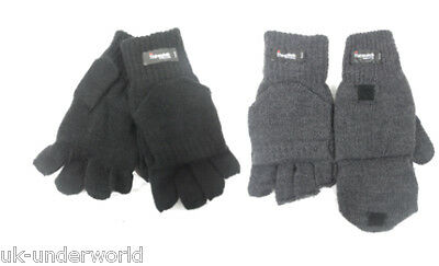 MENS ADULTS THINSULATE FINGERLESS 2 IN 1 CAPPED MITTENS WINTER WARM HALF GLOVES